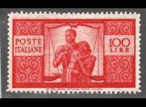 Italien: 1945, Freimarken Demokratie 100 L. (Höchstwert)