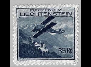 Liechtenstein: 1930, Flugzeuge 35 Rp. (Einzelstück mit Falz)