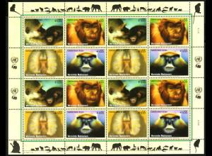 UNO-Wien: 2007, Zdr.-Kleinbogen Gefährdete Arten XV (Affen)