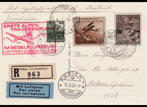 Liechtenstein: 1933, dekorative Segelflugpostkarte Zürich - Mailand als Einschreiben mit drei besseren Werten und entsprechenden Stempeln