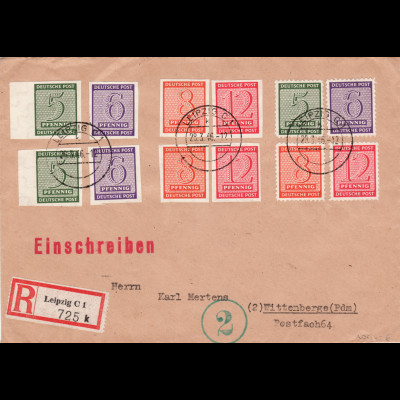 West-Sachsen: Ziffern, kleiner dekorativer überfrankierter Satz-R-Brief