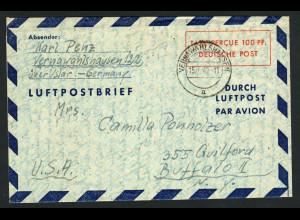Bizone: 1948, Luftpostfaltbrief 100 Pfg. in die USA (Bedarfserhaltung)