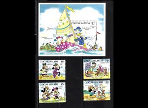 Turks- und Caicos-Inseln (Caicos-Inseln): 1984, Walt-Disney-Figuren: Ostern (Satz und Blockausgabe)