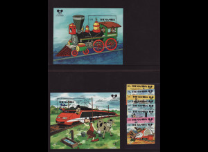 Gambia: 1987, Walt-Disney-Figuren in der Eisenbahn (Satz und Blockpaar)