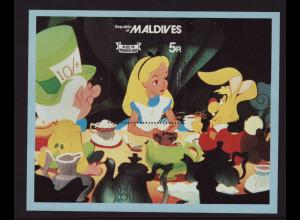 "Malediven: 1980, Blockausgabe Walt-Disney ""Alice im Wunderland"""