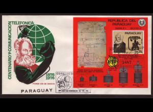 Paraguay: 1978, Blockausgabe 100 Jahre Telefon (auch Motiv Satelliten, Schmuckersttagsbrief)