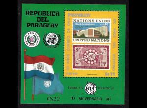 Paraguay: 1976, Blockausgabe 100 Jahre Telefon / 25 Jahre Postverwaltung UNO (Motiv Marke auf Marke)
