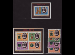 Guinea: 1976, 100 Jahre Telefon (Satz und Blockpaar)