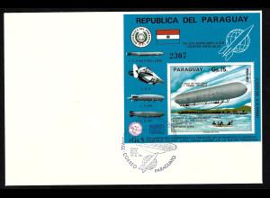 Paraguay: 1975, Blockausgabe Zeppelin LZ 1 (Ersttagsbrief)