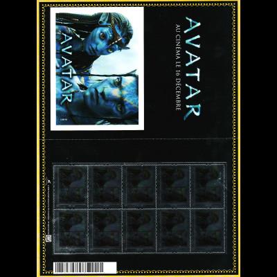 """Frankreich: 2009, Personalisierter Bogen """"Avatar"""" (Bogen mit 10 Marken)"""