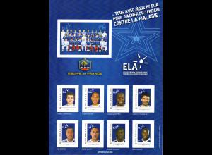 """Frankreich: 2010, Personalisierte Bögen """"Equipe de France"""" (Bogensatz aus 3 Bögen mit jeweils 8 Marken mit Spielern der französischen Fußballnationalmannschaft)"""