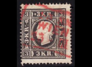 "Österreich: 1863, Kaiser Franz Joseph 3 Kr. (roter Ra3 ""Wien"", M€ 230,-)"