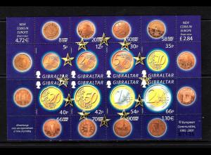 Gibraltar: 2002, Kleinbogen Euro-Einführung