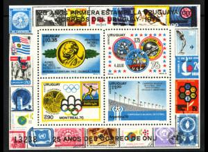 Uruguay: 1976, Blockausgabe Jahresereignisse (Einzelstück, u. a. Weltraummotiv)