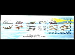 Dänemark: 2002, Blockausgaben Rat für Meeresforschung, 3 Blockausgaben, Parallelausgabe von Dänemark mit Färöer (Bl. 14) und Grönland (Bl. 24)