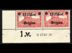 Landespost Belgien: 1916, 1 F. 25 Cent. mit HAN H 2743.18 (typgepr. BPP)