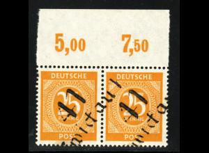 """1948, Bezirk 41, Ziffern 25 Pfg. """"Zwickau """" (waager. Oberrandpaar, gepr. BPP)"""