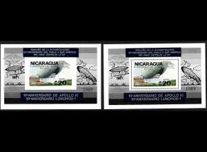 """Nicaragua: 1980, Überdruckblockpaar Luftschiff """"Graf Zeppelin""""; auch Aufdruck Weltraum 10 Jahre Apollo und Lunochod (jeweils mit silbernem Aufdruck, M€ 60,-)"""