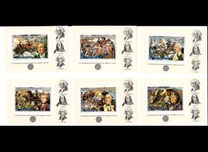 Guinea-Bissau: 1976, Blocksatz 200 Jahre USA (6 Blockausgaben, Gemälde, M€ 60,-)