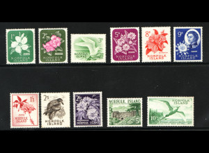Norfolk-Inseln: 1960, Freimarkenausgabe (dabei einige wenige Werte in 2. Wahl, der entscheidende Höchstwert Motiv Vögel ist einwandfrei)