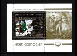 Komoren: 1976, Gold-Block 200 Jahre USA (G. Washington auch Motiv Segelschiffe)