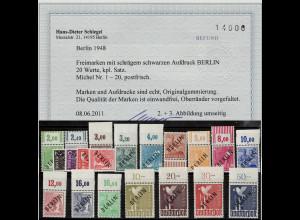 Berlin: 1948, Schwarzaufdruck postfrisch komplett, überwiegend als Oberrandsatz)