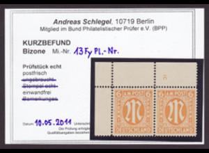 Bizone: 1945, AM-Post 6 Pfg. engl. Druck, Eckrandpaar, Kurzbefund BPP