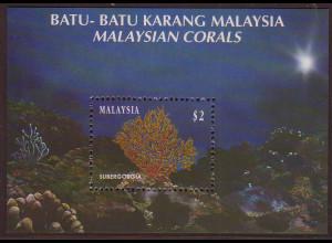 Malaysia: 1992, Blockausgabe Korallen