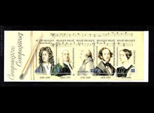 Belgien: 2009, Markenheftchen Komponisten (Kat.-Nr. 3945/49)
