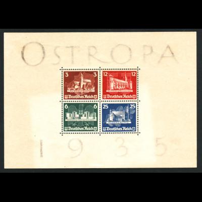 1935, Blockausgabe OSTROPA mit Gummierung und Falzspur