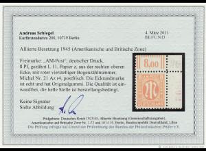 Bizone: 1945, AM-Post Deutscher Druck 8 Pfg. (Eckrand mit Bogenzählnummer)
