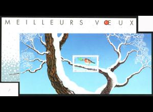Frankreich: 2003, Blockausgabe Rotkehlchen (im Folder)