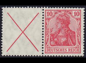 1910, Germania-Zusammendruck: X + 10 (sauber gefalzt, M€ 420,-)