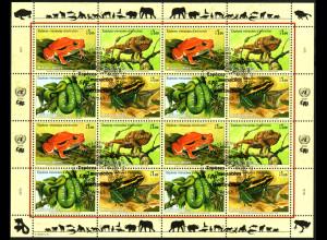 UNO-Genf: 2006, Zdr.-Kleinbogen Gefährdete Arten XIV (Amphibien und Reptilien)