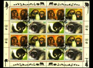 UNO-Genf: 2007, Zdr.-Kleinbogen Gefährdete Arten XV (Affen)