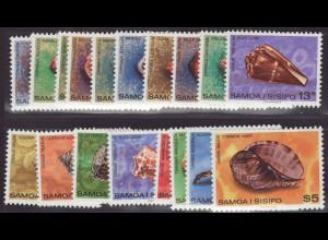 Samoa: 1978/80, Freimarken Meeresschnecken (mit Ergänzungswerten)