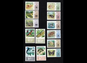 Samoa: 1972/75, Freimarken Tiere (mit Ergänzungswerten)