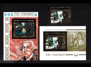 Komoren: 1976, 200 Jahre Unabhängigkeit USA (Goldmarke und Goldblockpaar)