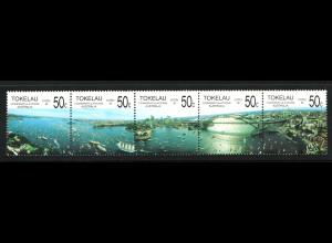 Tokelau-Inseln: 1988, Fünferstreifen Ansicht von Sydney