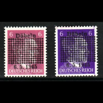 Döbeln: Hitler-Überdruck in beiden Farben (dabei 1 b kleiner Gummifehler)