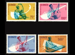 Guinea: 1962, Freimarken Musikinstrumente (nur Höchstwerte ab 75 Fr.)