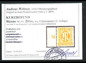 Bizone: 1945, AM-Post Deutscher Druck 6 Pfg. bessere Type als Randstück