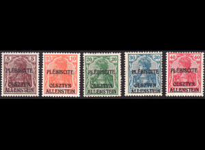 Allenstein: 1920, Unverausgabter Überdruck Germania, Kat.-Nr. II / VI (gepr.)