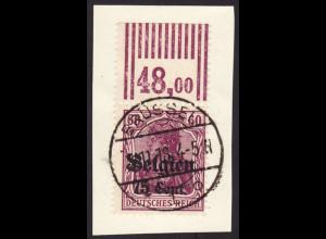 Landespost Belgien: 1916, 75 Cent. (als Oberrandstück 2/9/2, gepr. Hey BPP)