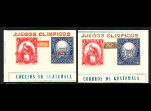 Guatemala: 1972, Sommerolympiade München Einzelmarken aus Block 13 mit orangenem und goldenem Aufdruck (wahrscheinlich Probedruck mit einer Auflage von nur 3500 Stück)