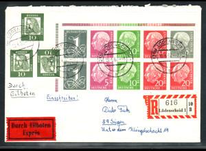 1960, Heuss liegendes Wasserzeichen, Eckrandstück, portogerechter Brief, Befund