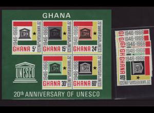 GHANA: 1966, UNESCO (Satz und Blockausgabe)