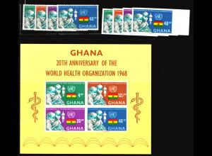 Ghana: 1968, Weltgesundheitsorganisation WHO (Satz gez und ungezähnt sowie Blockausgabe)