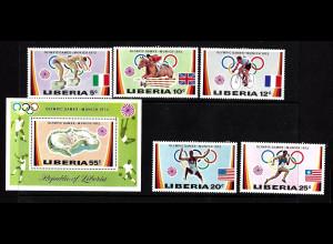 Liberia: 1972, Sommerolympiade München (Sportler, Satz und Blockausgabe)