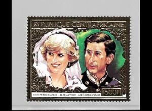 Zentralafrikanische Republik: 1981, Goldmarke Hochzeit Charles und Diana